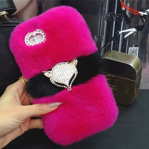 Image 2 - Luxury Bling Fox head Warm Soft Beaver Rabbit Fur Hair case for samsung S10 S20 S9 S8 Plus Note 20 9 8 10 protective phone back