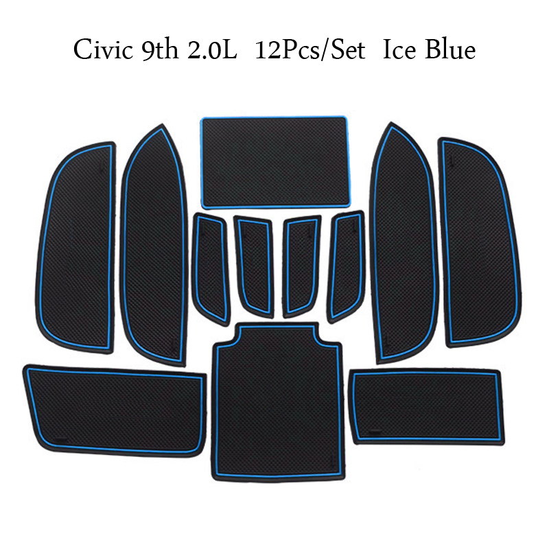 linfei Gate Slot Mats For Honda Civic Type R 2016-2019 Civic10 Interior Door Pad Cup Holders Non-Slip Mats