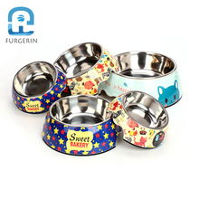 FURGERIN Two-in-one Dog Bowl food grade stainless steel cat bowl pet products for dog container Pets Cat Feeder