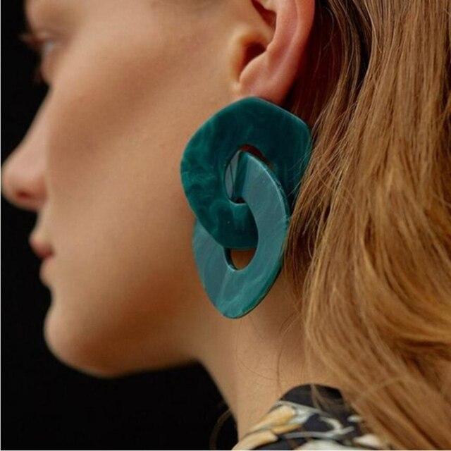 61864fb1c164 Pendientes geométricos exagerados de la joyería acrílica de moda de AOTEMAN  para mujeres pendientes largos de