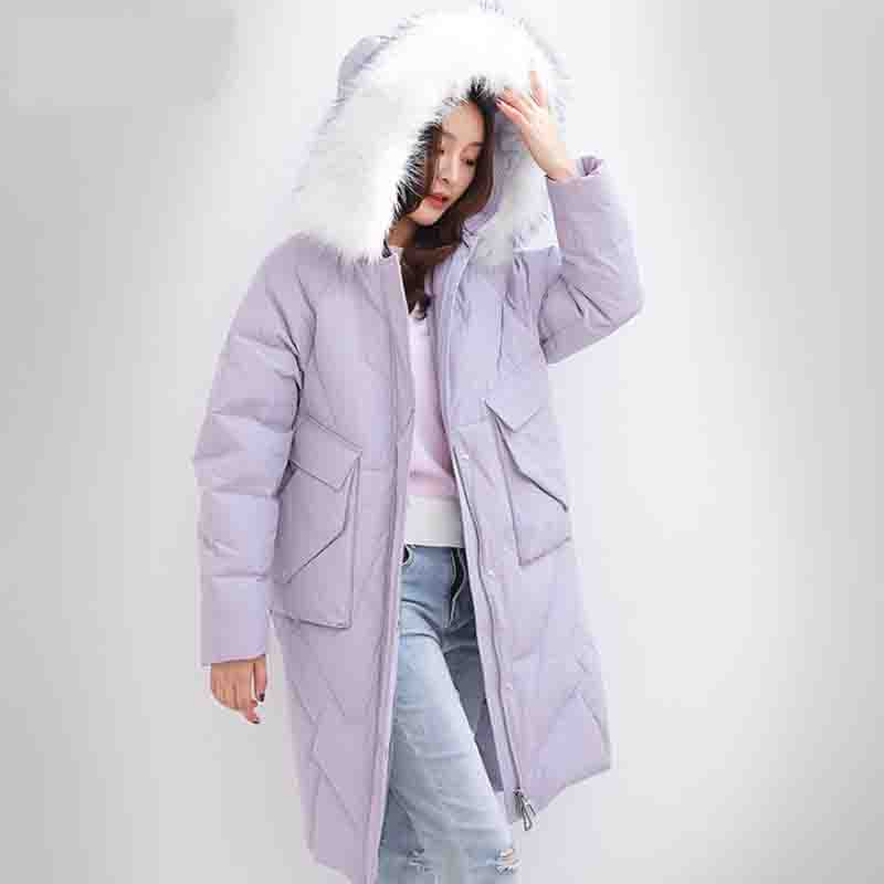 2019 Winter Women Jacket 90% White Duck   Down     Coat   Thick Warm Real fur collar Hooded Long   Down   Jacket Plus Size Parka Outwear