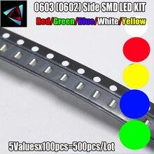 4000 قطعة جديد 0603 (0602) الجانب سمد LED عدة أحمر/أخضر/أزرق/أبيض/أصفر/أصفر أخضر