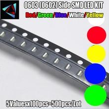 4000 sztuk nowy 0603 (0602) Side LED SMD KIT czerwony/zielony/niebieski/biały/żółty/żółty zielony