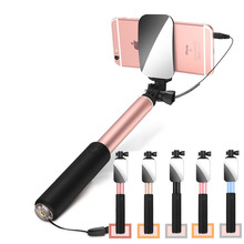 Vitopal Big Mirror Wired Extendable Monopod Tripod Handheld Selfie Stick for iPhone 7 7 Plus 6 Sumsang Huawei Android Smartphone