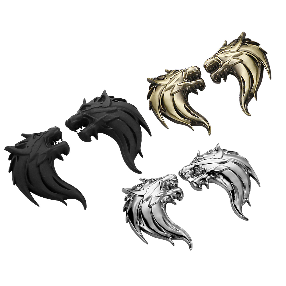 7.5cm*5cm 3D Metal Wolf Tiger Lion Head Logo Emblem Badge Automobile Truck Motorcycle Sticker Decal Car Styling Accessories