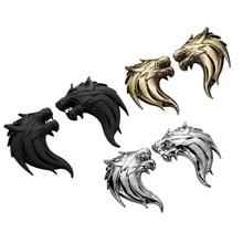 7.5cm*5cm 3D Metal Wolf Tiger Lion Head Logo Emblem Badge Au
