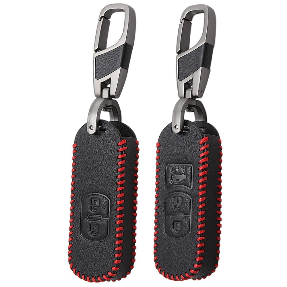Leather Key Case Chain Fob Cover For Mazda2 Mazda3 Mazda6 3-Buttons Accessories