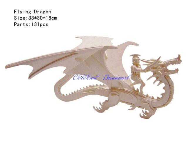 Alta Calidad 28 Pieza Rompecabezas Con Dibujo De Dragón De Madera Escena Con Borde