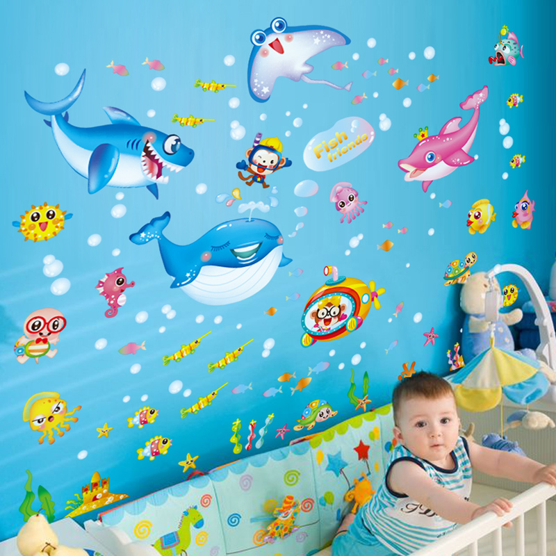 Ocean animal shark Jellyfish <font><b>nautical</b></font> <font><b>decor</b></font> cute baby Visual colorful living room <font><b>home</b></font> <font><b>decor</b></font> wall stickers