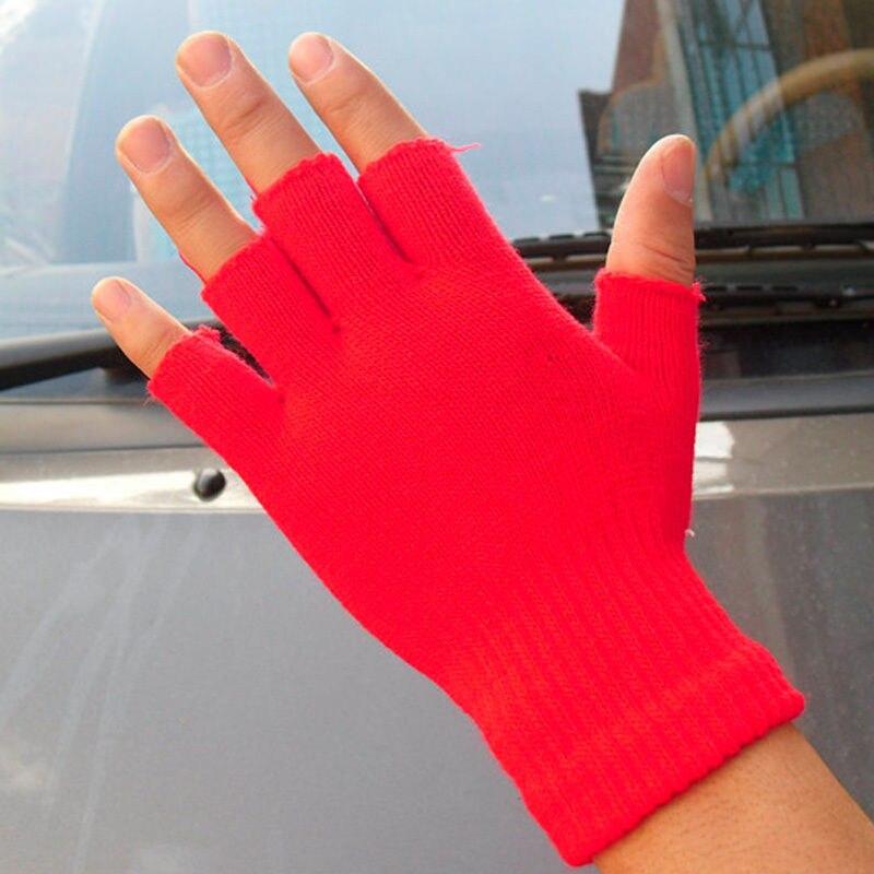 Men Black Knitted Stretch Half Finger Fingerless Gloves for Winter ...