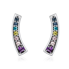 Paylor 2019 Hot Sale Silver Plated Colorful Rainbow Arc Clear CZ Shine Brand Stud Earrings for Women Wedding Jewelry(China)