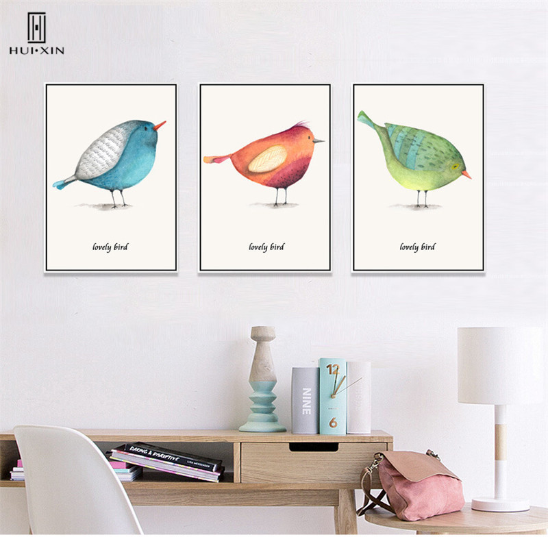 Personalize Animal Decoration lovely Bird Canvas Painting Style Gift for baby Wall Decorative Paintings Poster for Nursery Decor