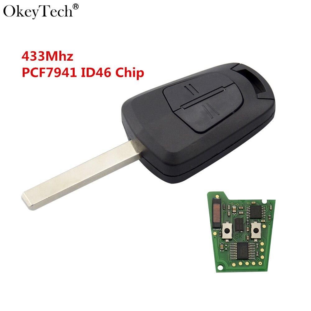Okeytech 2 Bouton Télécommande Clé De Voiture 433 Mhz PCF7941 Puce Pour Opel Vauxhall Astra H J Corsa Insignia Uncut blanc HU100 Lame