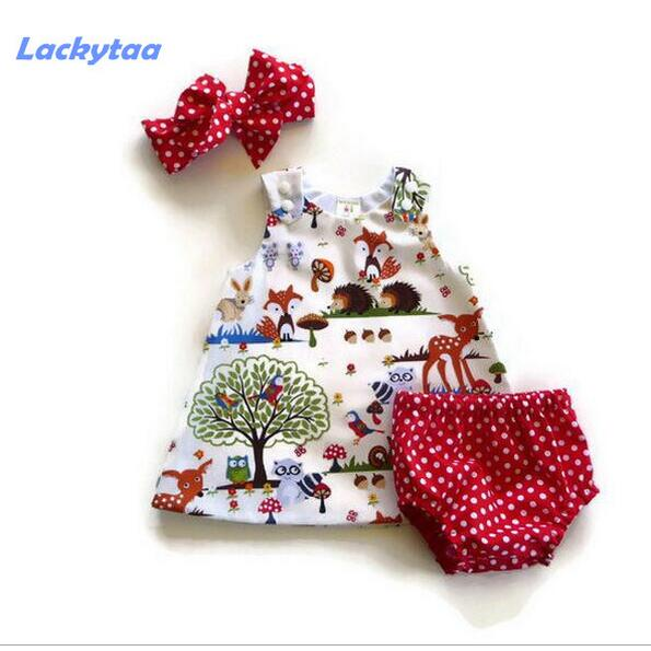 Lackytaa 3 pcs toddlers infant girl baby girl clothing sets summer clothes Dress+Shorts+Headband baby outfits clothes for girls