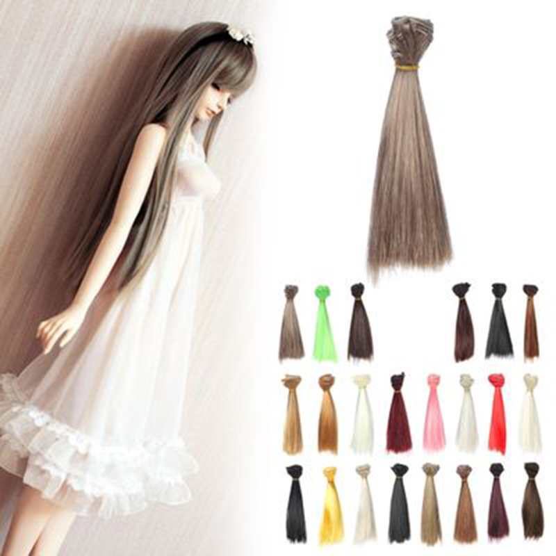 1pc DIY Short Straight Hair Hair/wigs 15cm*100CM Colorful Hair Refires Wig For 1/3 1/4 BJD Dolls beioufeng 15 5 17cm 1 6 bjd wig short straight doll wigs for dolls accessories fashion student style short synthetic doll hair