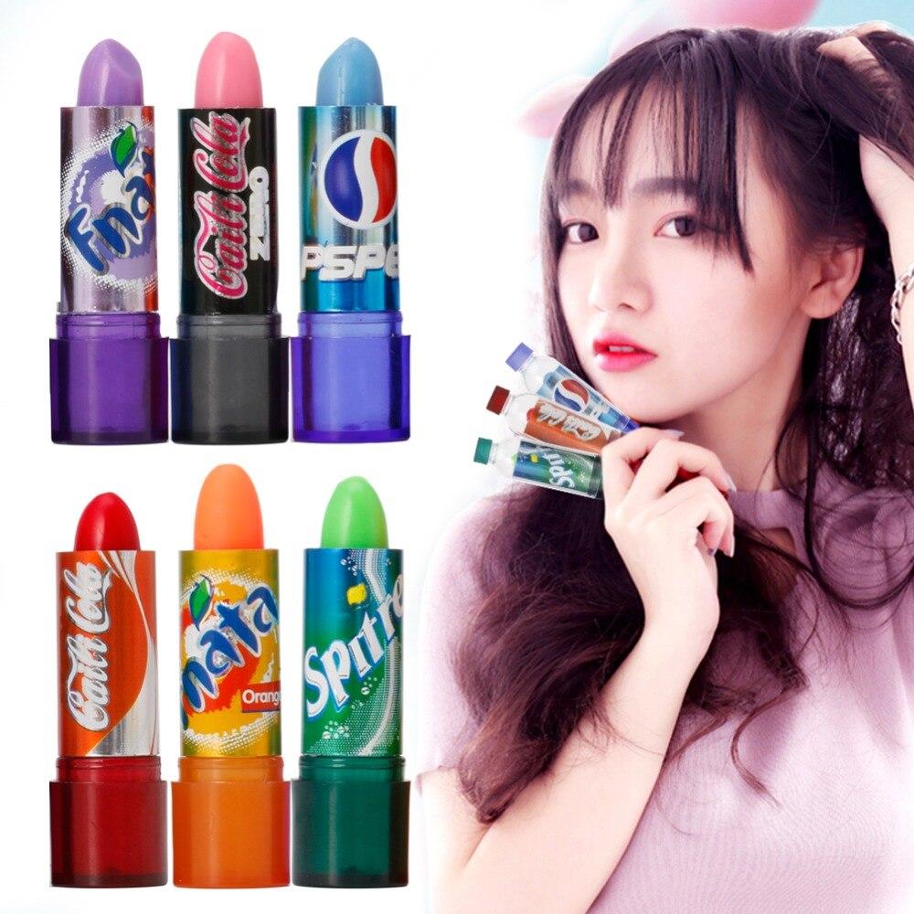 6pcs / Set Rainbow Color Changeable Cute Moisturizer Lip Balm Cola Lipstick Woman Beauty Makeup 3