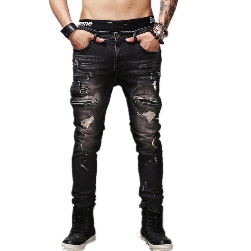 aa17a3d7 MCCKLE Hi-Street Mens Ripped Biker Jeans Black Slim Fit Motorcycle Jeans Men  Vintage Distressed Denim Jeans Trousers Pants
