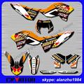 MOTORCYCLE 3M TEAM GRAPHICS BACKGROUND DECALS STICKERS KITS FOR KTM EXC 125 250 300 350 SERIES MODELS 08 09 10 11 SIX DAYS
