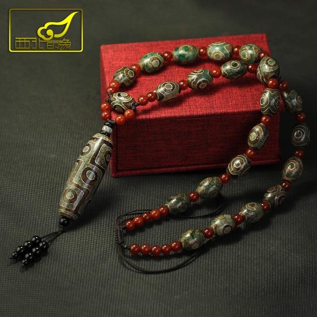 Arsun مجوهرات التبت dzi الخرز قلادة حجر التبت المجوهرات الحقيقي الرجال قلادة شحن مجاني