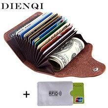 DIENQI retro genuine leather font b money b font font b clips b font wallet cardholder