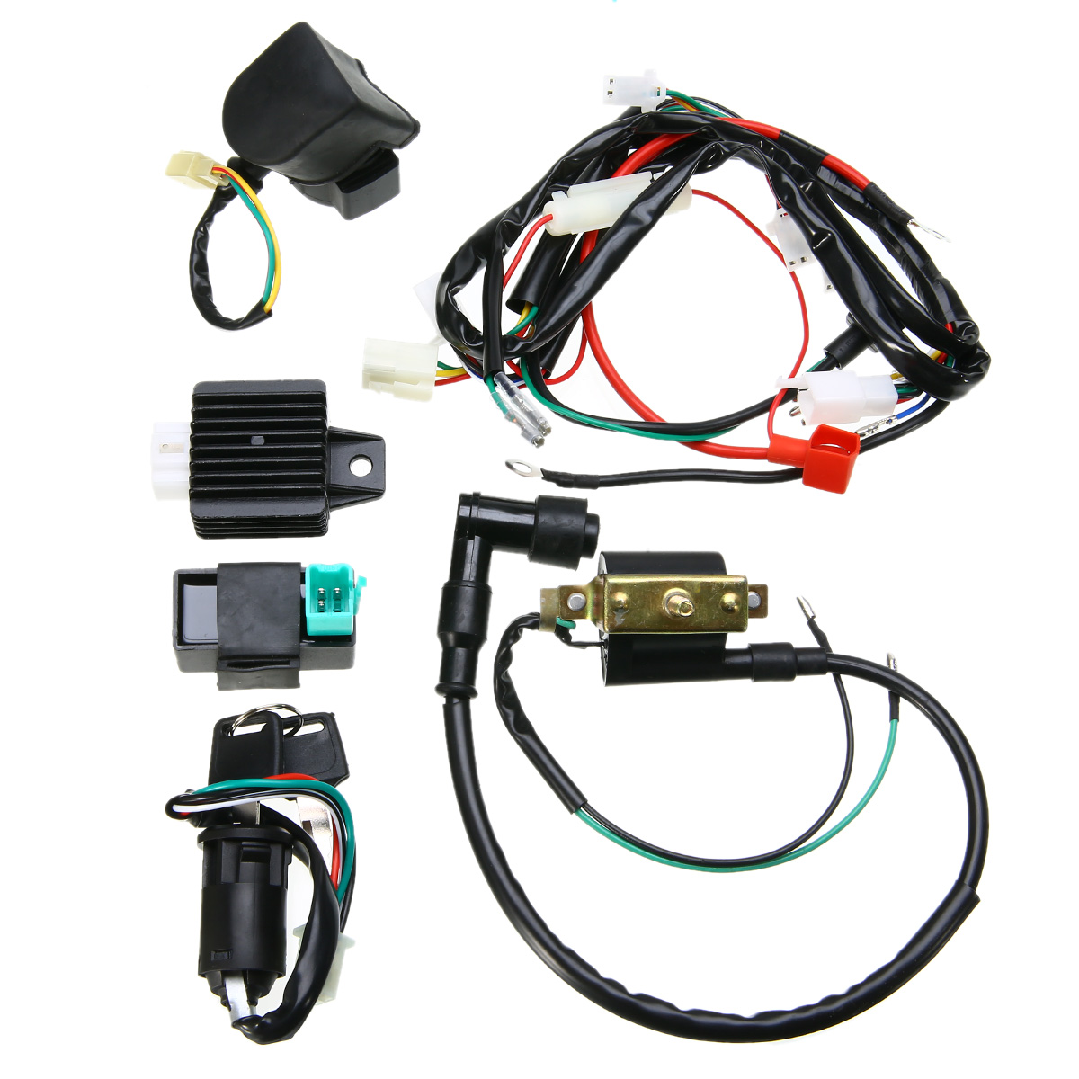 hight resolution of motorcycle ignition 50cc 125cc cdi quad wiring harness loom solenoid coil rectifier for 50cc 110cc