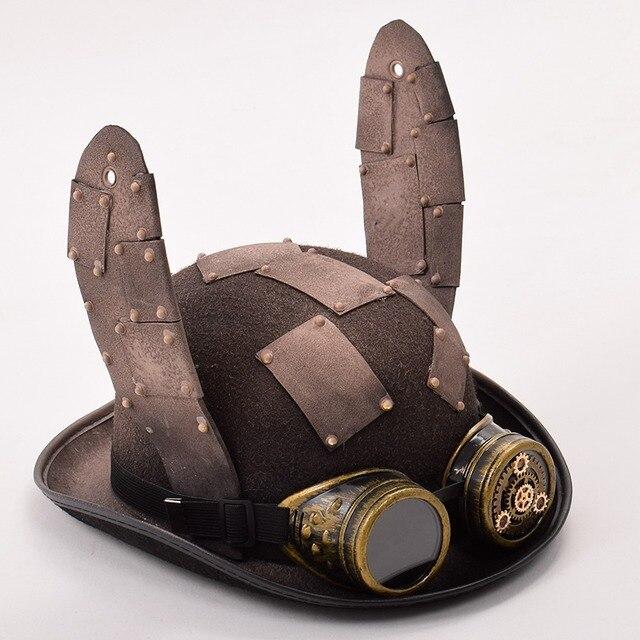 Стимпанк шляпа с очками и ушами 2