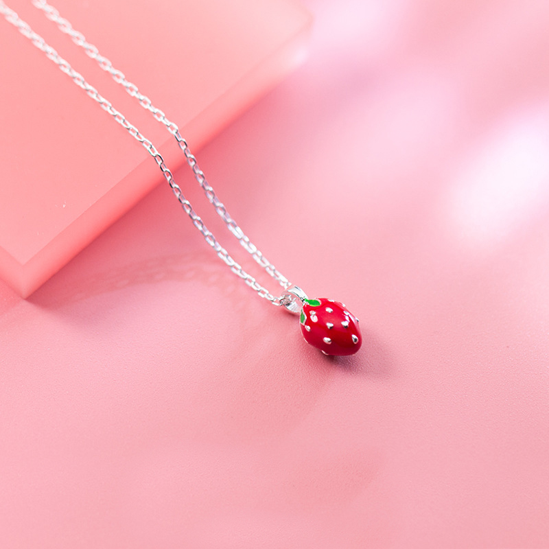 MloveAcc Authentic 925 Sterling Silver Sweet Strawberry Red Enamel Charm Pendant Necklaces for Women Girls Fine Jewelry