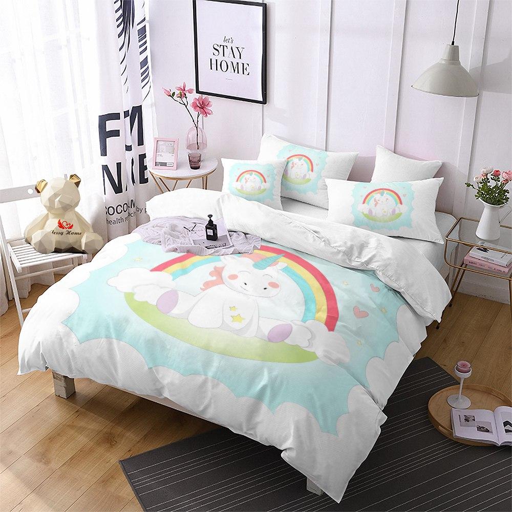 Rainbow Unicorn Bedding Set Single Kids Bedding Set Girl ...