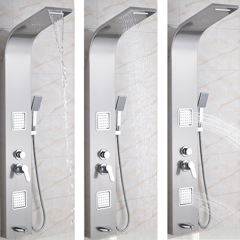 Big Promotion Stainless Steel Rainfall Shower Panel Massage Jet Shower  Column Tub Hand Shower Tap Mixer Tap Tower Shower Column In Shower Faucets  From Home ...