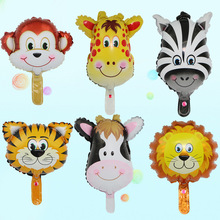 The new mini small animal aluminium film balloon cartoon deer head ising lion tiger little pig the