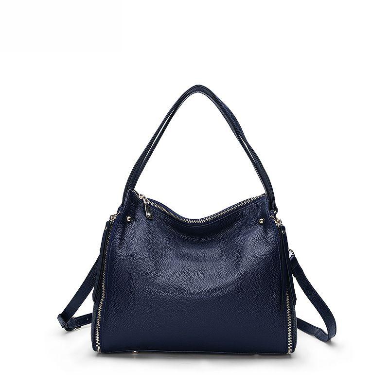 LOEIL New leather handbags fashion shoulder bag first layer leather portable Messenger bag large capacity handbag tide