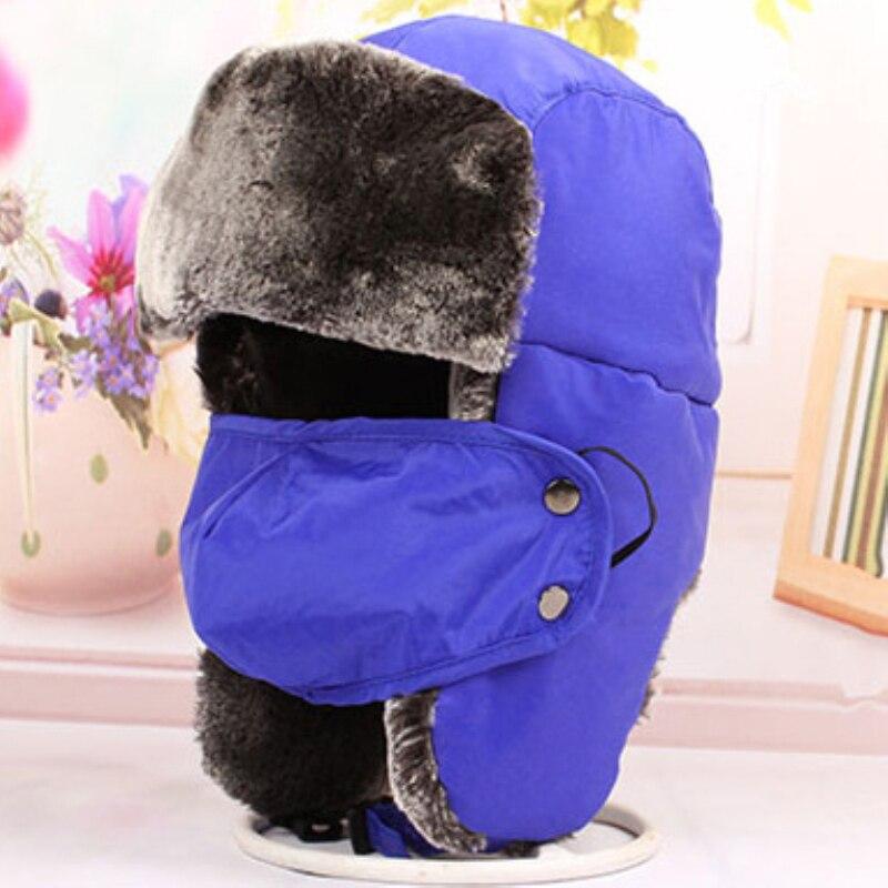 Fur Hats Trapper-Caps Snow Girls Winter Mask Earflap Boys Kids Children Thick Warm