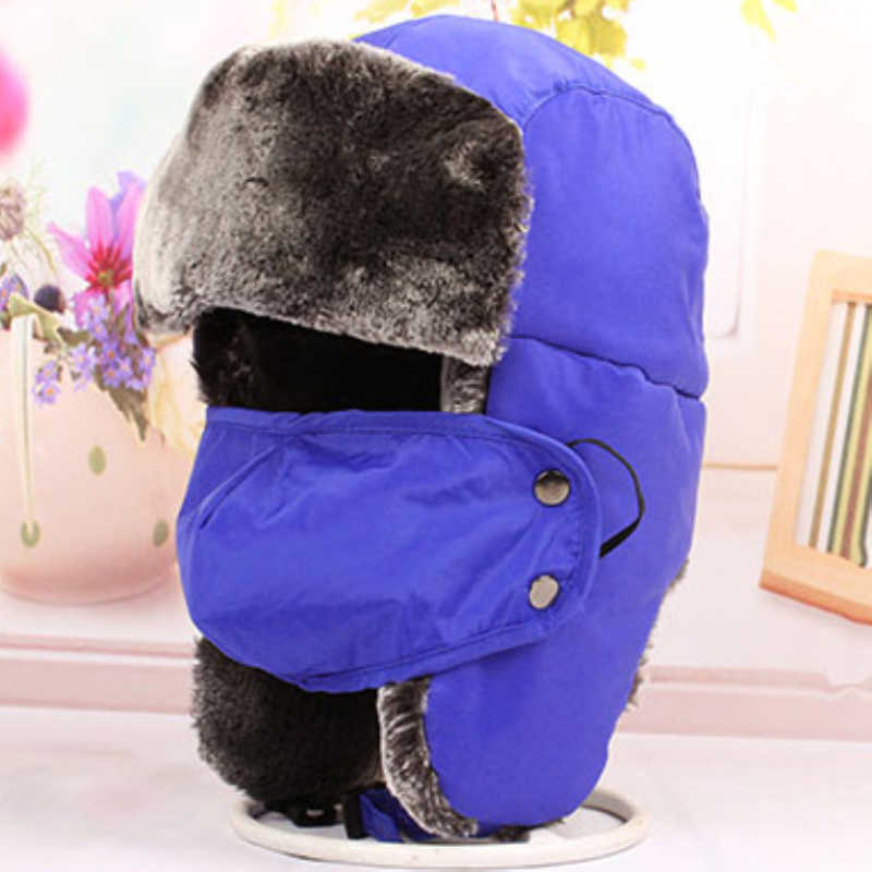 HT2117 Children Bomber Hats Trapper Caps Thick Warm Winter Fur Hats with Mask  Boys Girls Earflap 805593b17f69