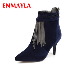 ENMAYLA Fashion Sexy Kitten Heels Pointed Toe Ankle Boots for Women Nubukle Chain Tassel Party Shoes Woman Casual