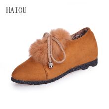 HAIOU Brands 2016 New Warm Shoes Women's Boots Ankle Feathers Boots Fashion Shoes Black Falt Soft Bottom Casual Women Shoes