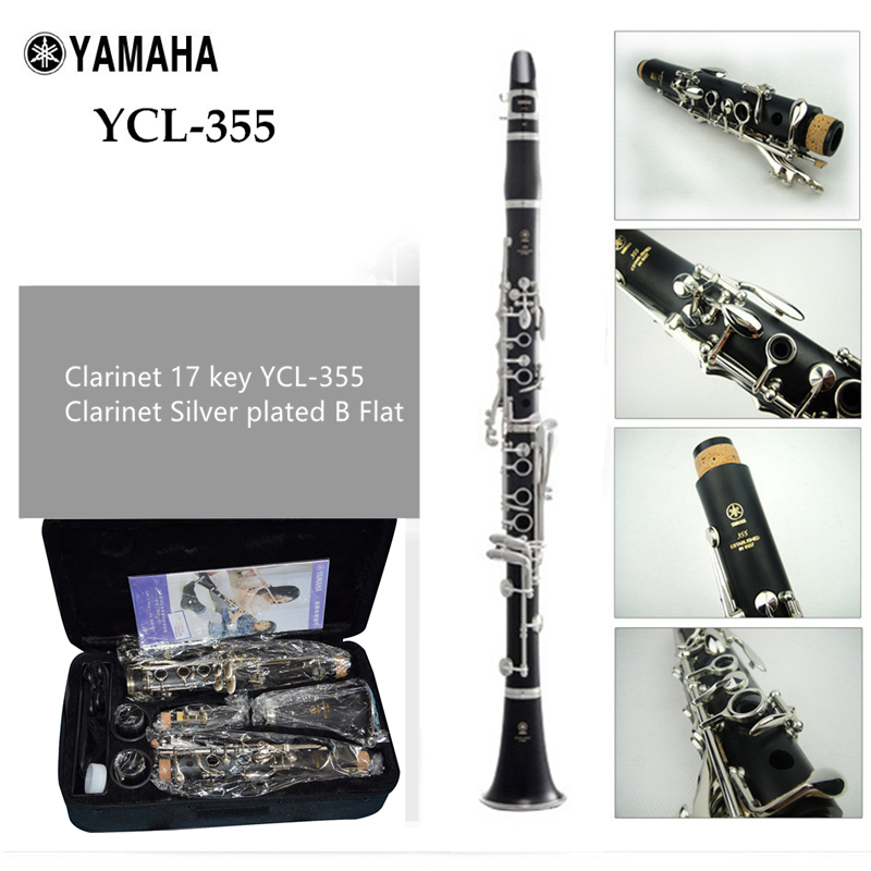 Japon Clarinette 17 clé YCL-355 Clarinette Argent plaqué Bb Klarinet Bakélite Clarinette Avec Cas Deux Paires De Principal Expor