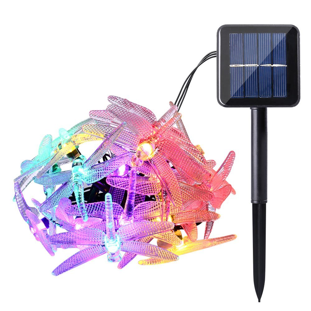 Outdoor Dragonfly Solar String Lights 16ft 20 Led 8 Modes