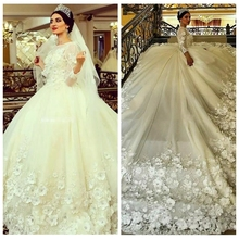Crockoonboo 2019 Long Sleeves A-Line Wedding Dresses With