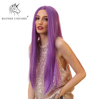 BLONDE UNICORN 28 Synthetic Lace Front Middle Part Purple Wig for Women Long Straight Heat Resistant Canekalon Fiber Party Wig