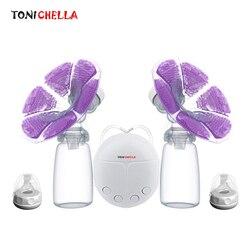 Один/двойной Электрический молокоотсос с бутылкой для молока, для младенцев, USB, без БФА, мощная грудь, туфли-лодочки, для грудного вскармлив...