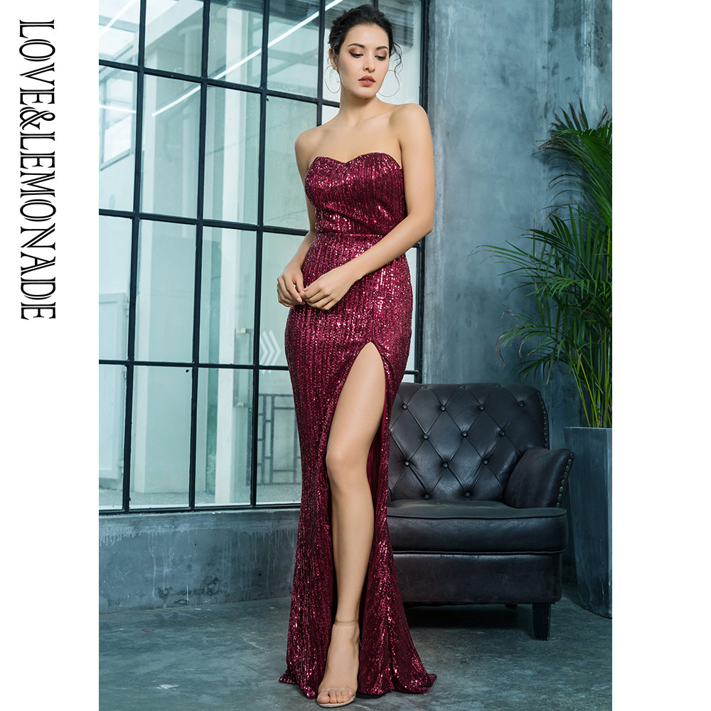 Love Lemonade Wine Red Cut Out Fish Shaped Elastic Sequin Material Long Dress LM81142