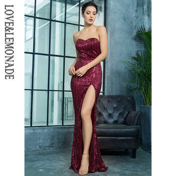 Love&Lemonade  Wine Red  Cut Out Fish  Shaped Elastic Sequin Material Long Dress LM81142 - DISCOUNT ITEM  10% OFF All Category