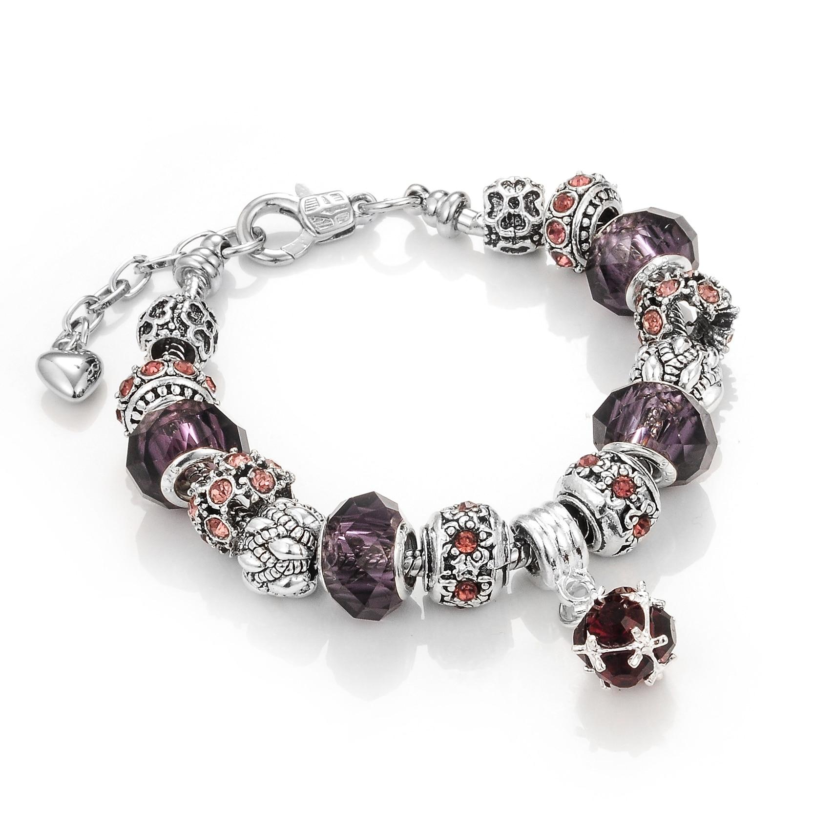2017 Fashion Glass Diy Charm Bracelet Flower Crystal Snake Chain Bracelet  For Women Sterling Silver Jewelry