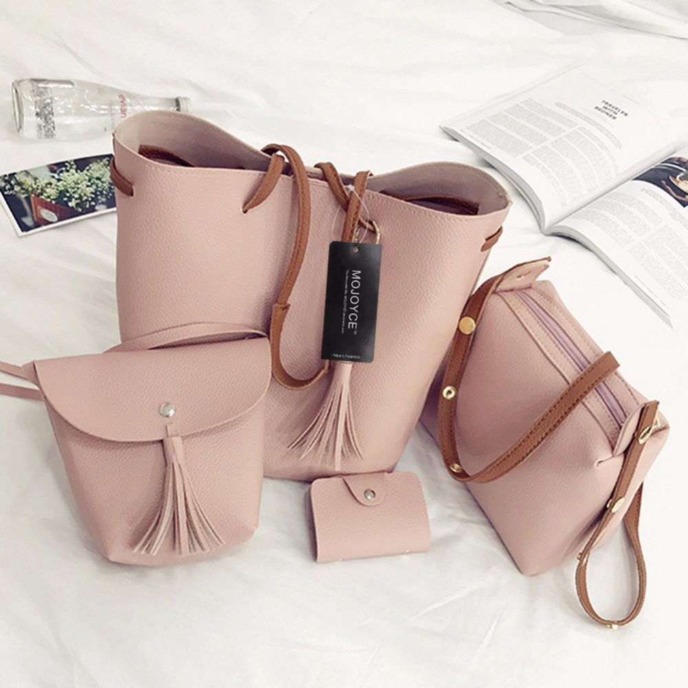 4pcs/Set Fashion Women Composite Bag Tassel Pure PU Leather Shoulder Bag Women Clutch Handbag Set Large Tote Female Shopping Bag