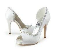 2016 New Style White Woman Wedding Shoes Elegant Peep Toe High Heel Lady Shoes Satin Bridal Dress Shoes