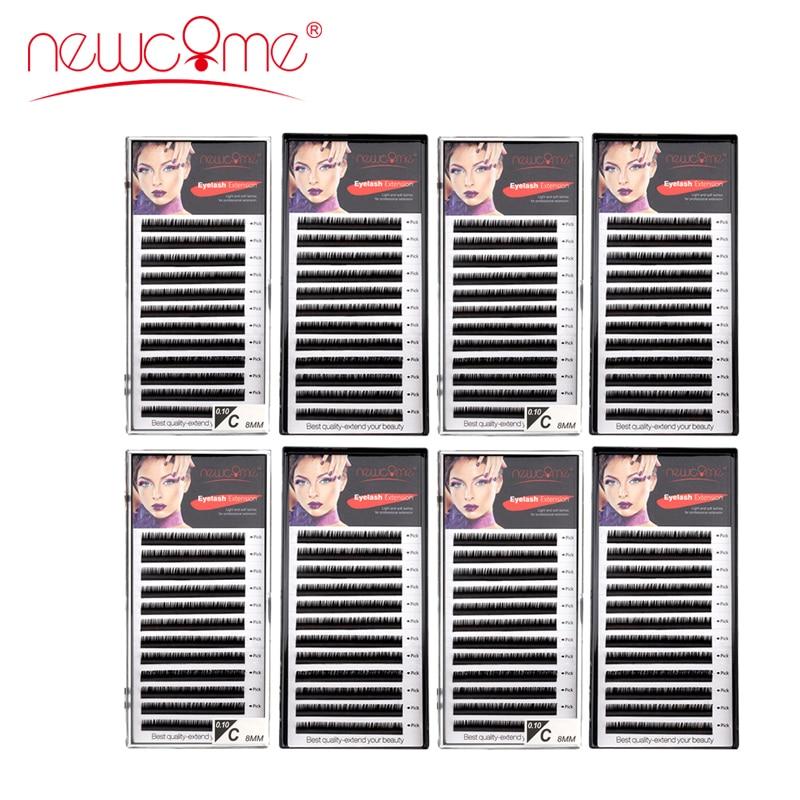 NEWCOME 8 trays High Quality Eyelash Extension Individual Silk Volume Eyelashes Natural Long Black False Eyelashes Handmade Lash
