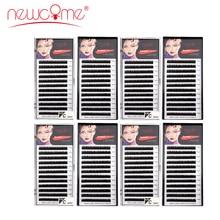 NEWCOME 8 trays High Quality Eyelash Extension Individual Silk Volume Eyelashes Natural Long Black False Handmade Lash