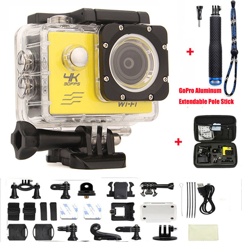 Action Camera HD 4K 170D wifi Mini video Cam Marine Diving go pro hero 4 style 30M underwater Extreme Sports camera add camera bag and two battery sport action camera 1080p hd 12mp sj4000 wifi extre sports camara gopro hero 3 go pro 4 cam style