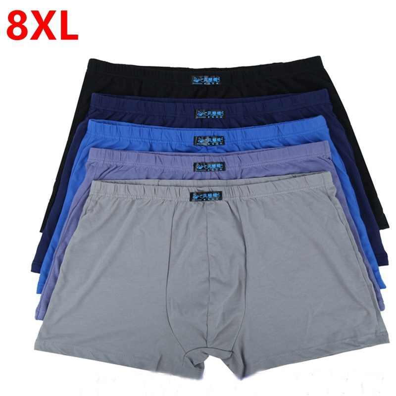 Gran suelta masculina Ropa Interior de algodón Boxeadores bragas de cintura  alta transpirable cinturones de grasa 86351be59c1e