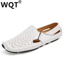 WQT 2016 Handmade Mens Shoes Casual Fashion Breathable Men Shoes Leather Men Loafers Mocassin Homm Slip On Men Flats Male Shoes